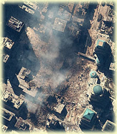 Satellite shot of WTC ruins